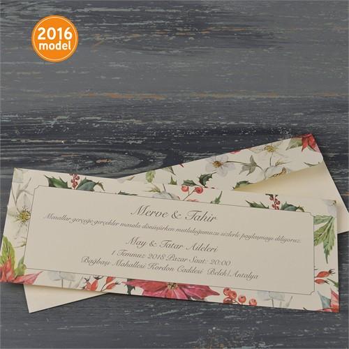 Bahar Çiçekleri Düğün Davetiye 100 Adet Zarflı