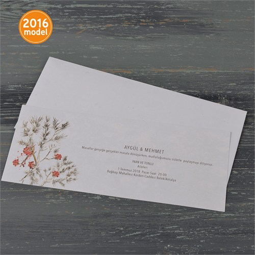 Sade Çiçek Desenli Nikah Davetiye 100 Adet Zarflı