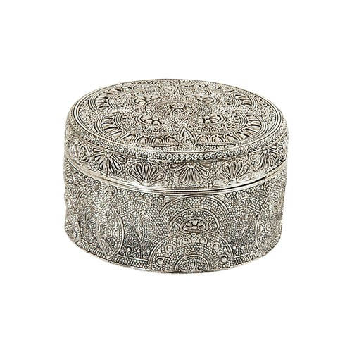 Çağ Deccor Gümüş Küçük Yuvarlak Telkari Mücevher Kutusu