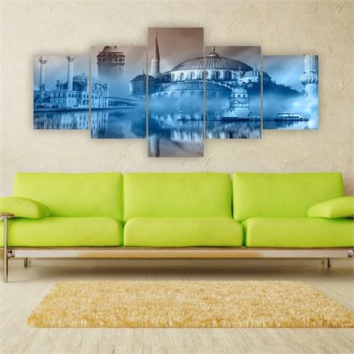 Tablo İstanbul 150X70 Cm Büyük Boy 5 Parçalı Kanvas Tablo-209