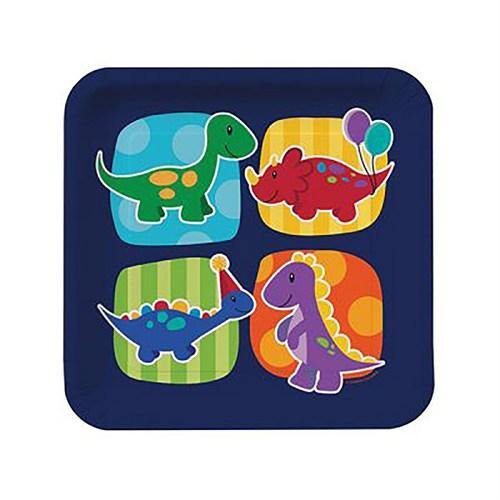 Kullanatmarket Renkli Dino Kare Karton Tabak 8 Adet