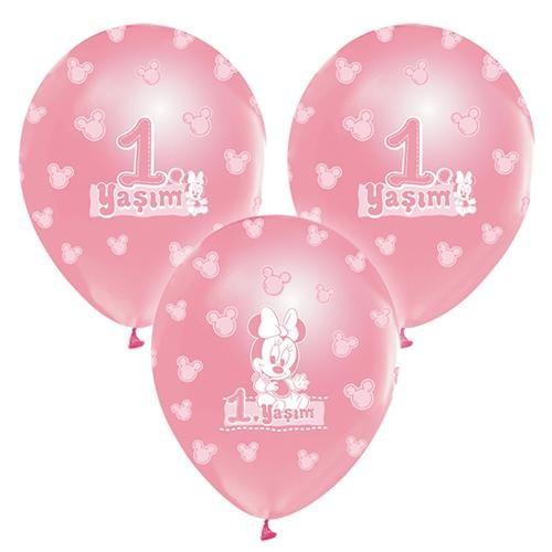 Parti Şöleni 1 Yaşım Pembe Minnie Balon