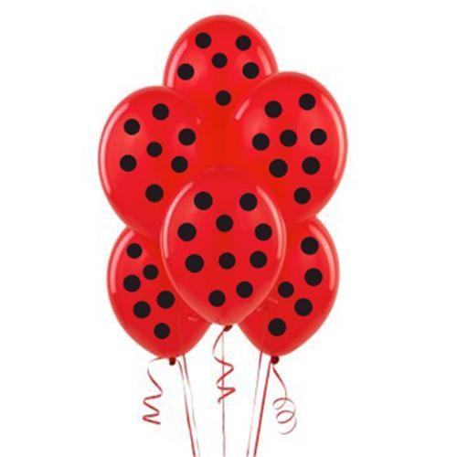 Parti Şöleni Kırmızı Üzerine Siyah Puanlı Balon 20 Adet