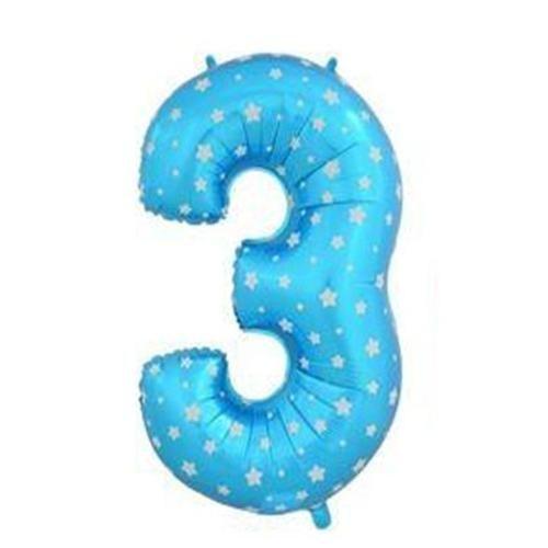 Parti Şöleni Yıldız Desenli 3 Yaş Mavi Folyo Balon