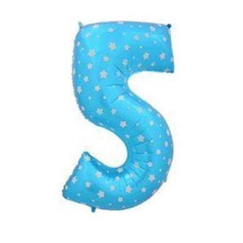 Parti Şöleni Yıldız Desenli 5 Yaş Mavi Folyo Balon