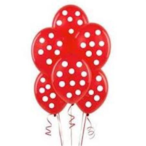 Parti Şöleni Kırmızı Üzerine Beyaz Puanlı Balon 20 Adet