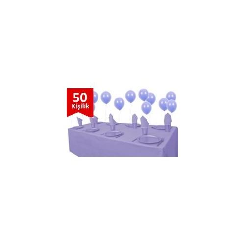 Parti Şöleni Lila Plastik 50 Kişilik Set