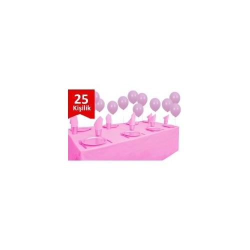 Parti Şöleni Pembe Plastik 25 Kişilik Set