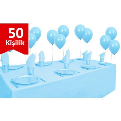 Parti Şöleni Açık Mavi Plastik 50 Kişilik Set