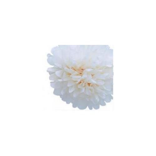 Parti Şöleni Ponpon Çiçek Süs Beyaz 1 Adet
