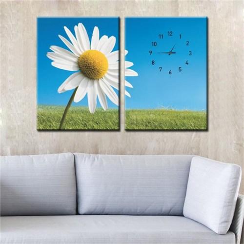 Canvastablom Cl203 Papatya Çiçeği Saatli Tablo