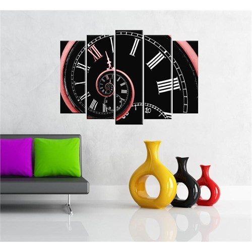 Canvastablom B87 Dekoratif Modern Saat Şeklinde Parçalı Tablo