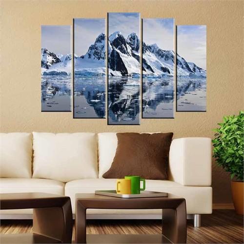Canvastablom B130 Karlı Dağ 5 Parçalı Kanvas Tablo