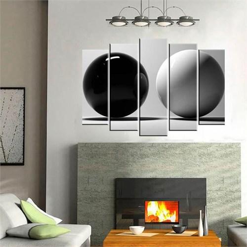 Canvastablom B151 Siyah Ve Beyaz Toplar Parçalı Kanvas Tablo