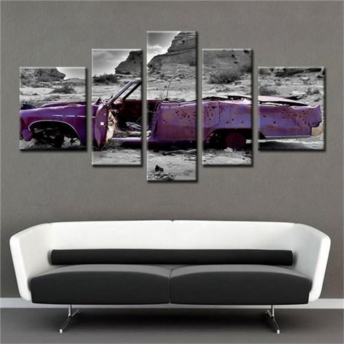 Canvastablom B205 Mor Hurda Araba Parçalı Kanvas Tablo