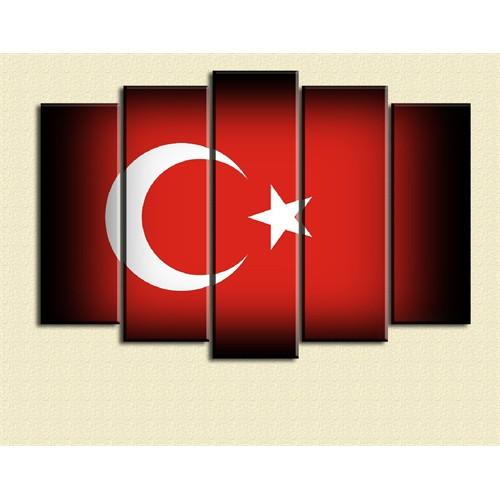 Canvastablom Türkiye Bayrak Dekoratif 5 Parçalı Kanvas Tablo