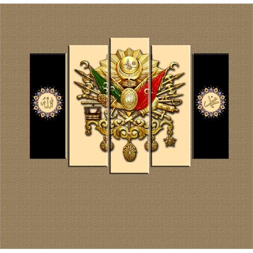 Canvastablom Osmanlı Arma 5 Parçalı Kanvas Tablo