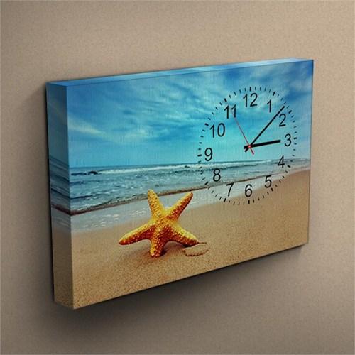 Canvastablom Cl104 Deniz Yıldızı Saatli Kanvas Tablo