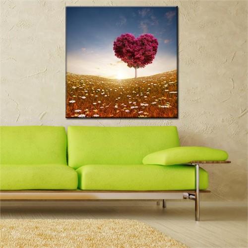 Canvastablom Kr5 Kırmızı Kalpli Ağaç Kanvas Tablo