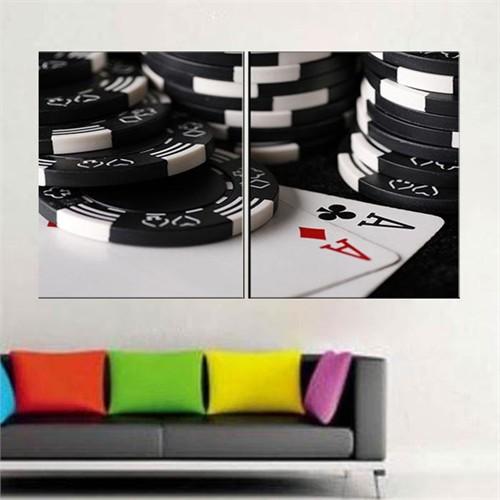 Canvastablom İ373 Poker Taşları Parçalı Kanvas Tablo