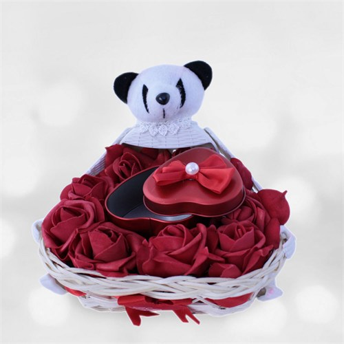 Sevgiliye Romantik Hediye Sevimli Panda Sepeti
