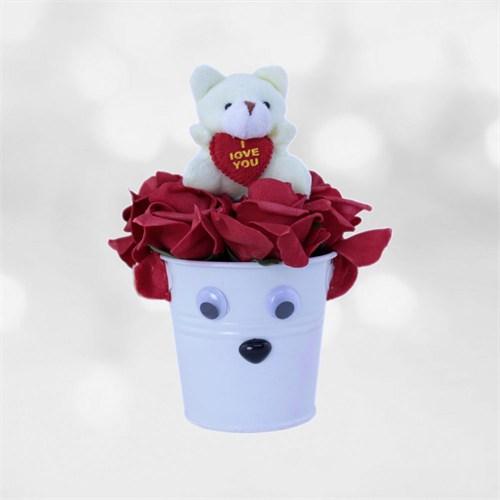 Sevgiliye Romantik Hediye Sempatik Mini Ayıcık Kovası