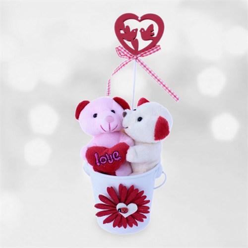 Sevgiliye Romantik Ayıcığın Sevgi Öpücüğü Hediyesi