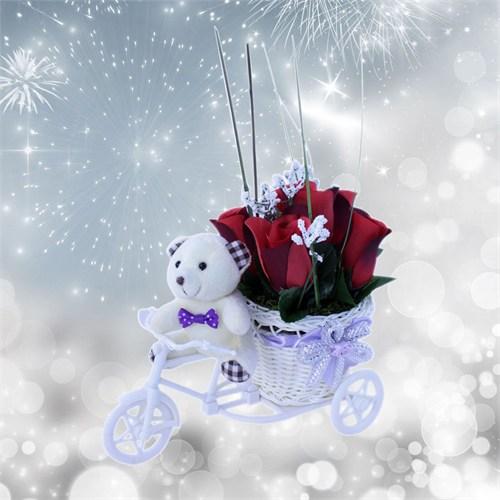 Doğum Günü Hediyesi Beyaz Peluş Kırmızı Güller