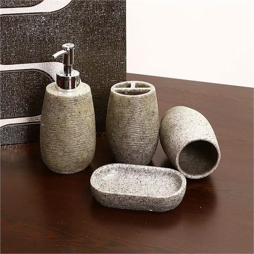 Evino 4'Lü Banyo Sıvı Sabunluk Seti Açık Granit Görünümlü