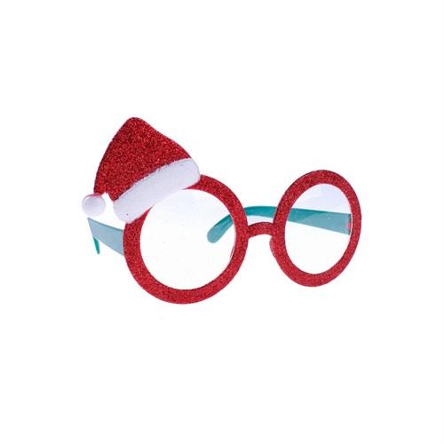 KullanAtMarket Simli Noel Şapkalı Gözlük 1 Adet