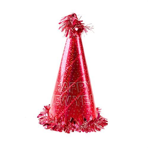 KullanAtMarket Happy New Year Kırmızı Yılbaşı Şapkası 1 Adet