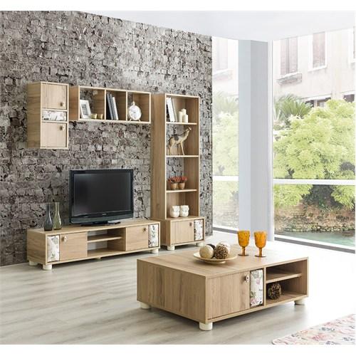 Home De Bella Fiore Tv Ünitesi - Kitaplık - Orta Sehpa Seti