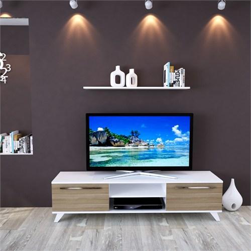 Eyibil Mobilya Aleyna 160 cm Gövde Beyaz Kapak Meşe Tv Sehpası Tv Ünitesi Duvar Raflı