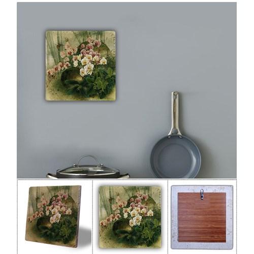 Oscar Stone Çiçekler Doğal Taş Tablo - 20X20 Cm