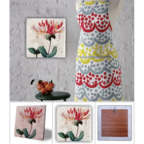 Oscar Stone Kırmızı Beyaz Çiçek Doğal Taş Tablo - 20X20 Cm