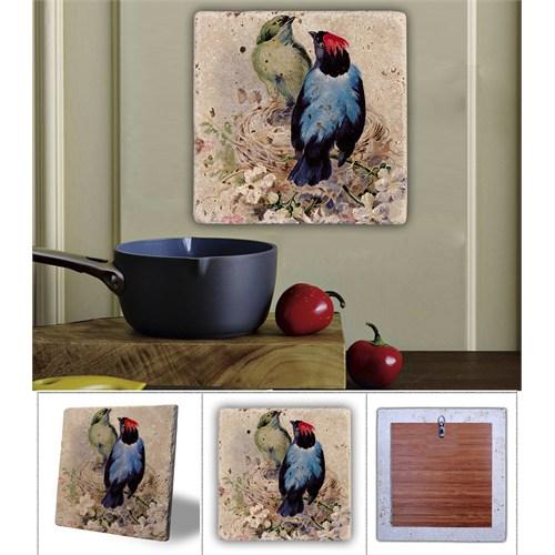 Oscar Stone Mavi Kuş -1 Doğal Taş Tablo - 20X20 Cm