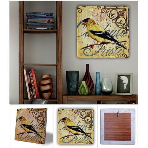 Oscar Stone Sarı Kuş Doğal Taş Tablo - 20X20 Cm