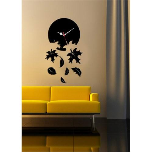Siyah Dökülen Yapraklar Dekoratif Kırılmaz Saat