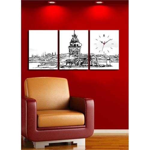 3 Parça Kanvas Saat - Siyah Beyaz Kız Kulesi