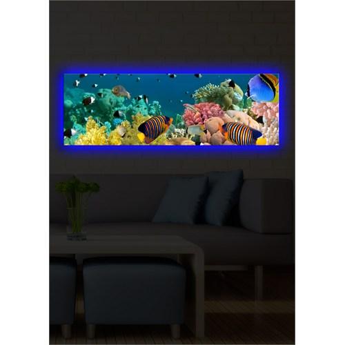Renkli Balıklar Arkadan Aydınlatmalı Kanvas Tablo - 30X90 Cm