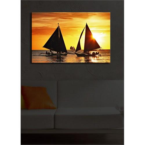 Yelkenliler İçten Aydınlatmalı Kanvas Tablo -45X70