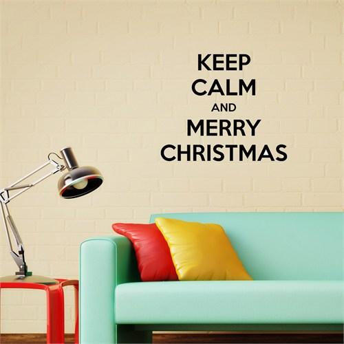 Merry Christmas Duvar Sticker Siyah