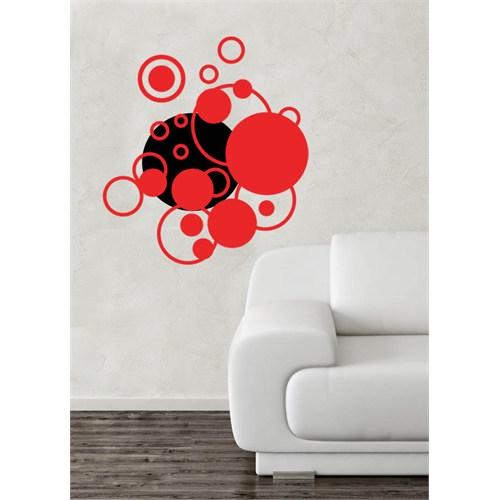 Kırmızı Daireler Duvar Sticker