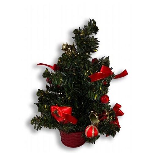 30 Cm Masa Üzeri Süslü Çam Ağacı Kırmızı