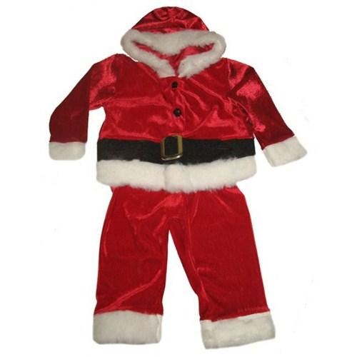 Kadife Erkek Bebek Noel Baba Kostümü 3-4 Yaş