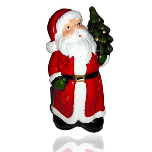 Çam Ağacı Tutan Noel Baba Figürlü Mumluk