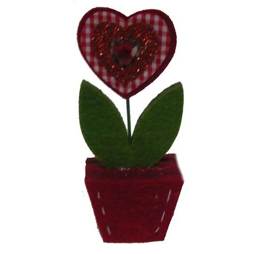 Kırmızı Saksılı Çiçek Kumaş Süs