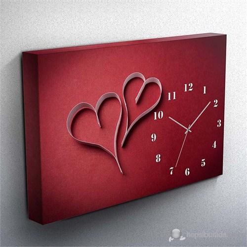 Sevgililer Günü Özel Canvas Tablo Saat I 45X30cm