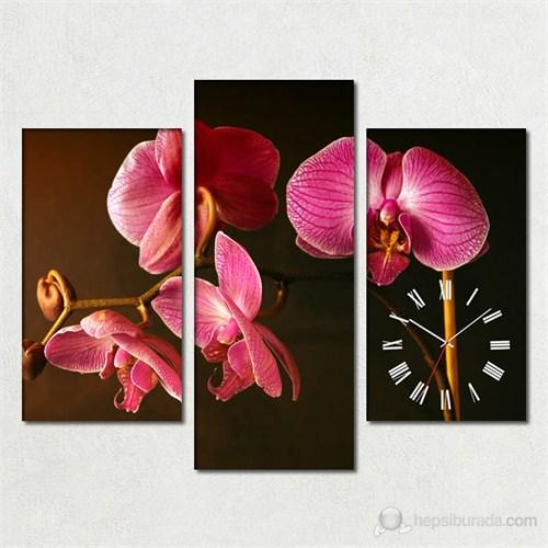 Tabloshop - Orkide 3 Parçalı Simetrik Canvas Tablo Saat - 80X60cm
