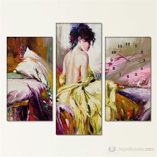 Tabloshop -Alone Women 3 Parçalı Simetrik Canvas Tablo Saat - 80X60cm